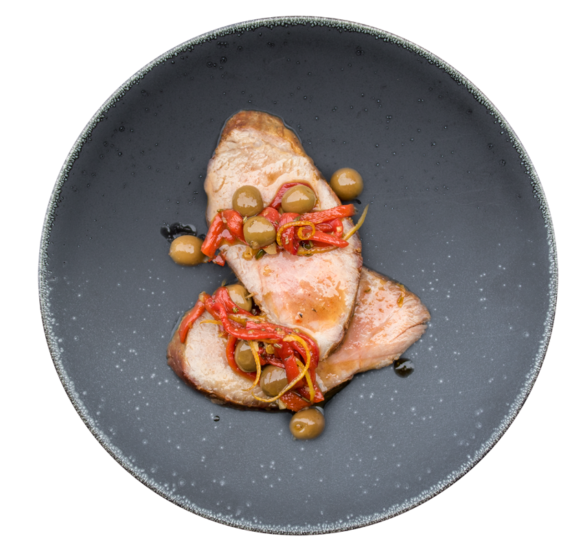 iberico with olives and peppers