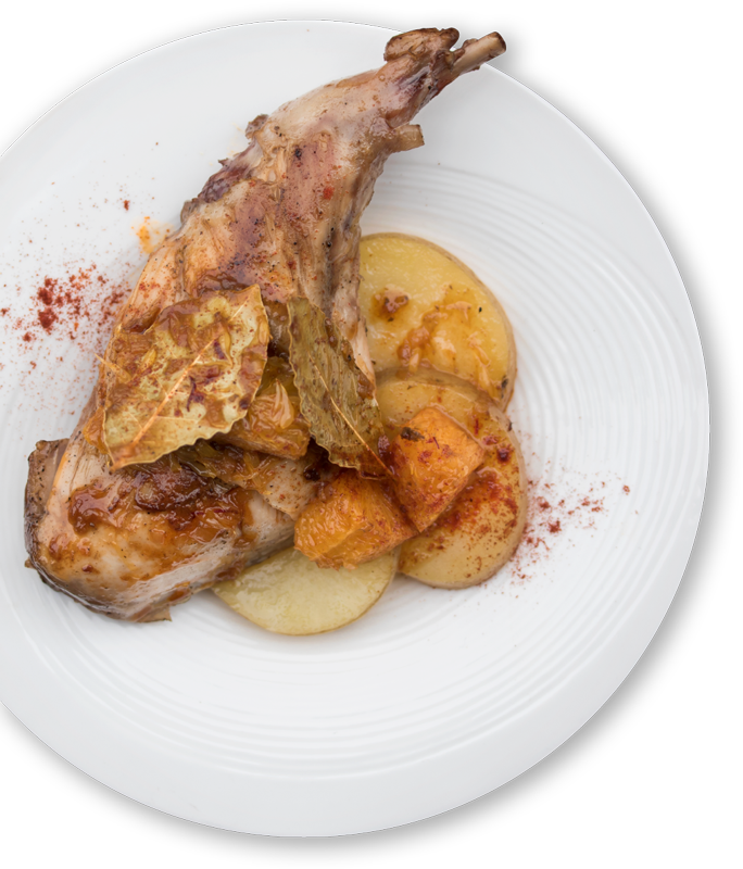 rabbit portioned on plate with potatoes
